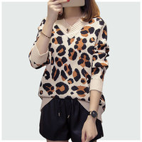 Women Color Leopard Print Sweater Large Size xl 5xl 2018 Autumn Winter Sweater Knit Sweater Female New V neck Pullovers