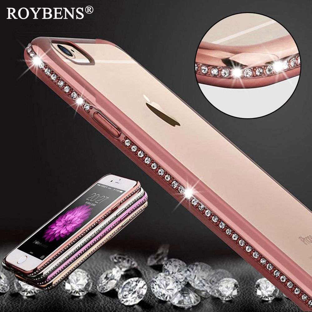 Luxury Bling Diamond Frame + Transparent TPU Case For Iphone6 6S 4.7/ 6 6S Plus 5.5 Soft Silicone Cover + Plating Rose Gold Capa