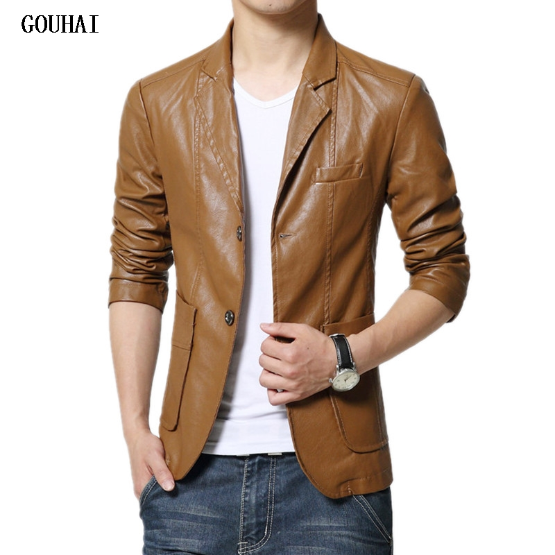Leather Blazer Men 2019 Autumn Blazer Men Slim Fit Plus Size Slim Solid Mens Blazer Jacket M-7XL High Quality