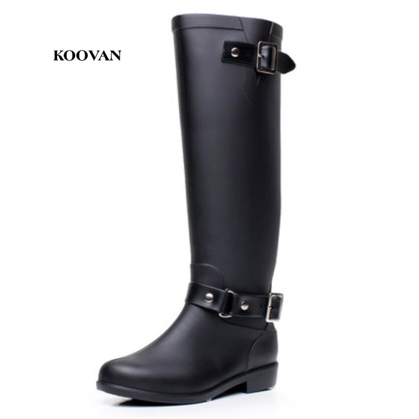 Koovan women boots 2017 Shoes Women Punk Riding Buckle Boots Women Rain Boots Cool Mid-Calf Zip Winter shoes large Size 41 yub brand waterproof rain boots for women with solid color slip on winter mid calf shoes for girls