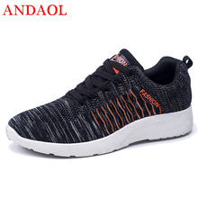 ANDAOL New Men's Casual Shoes Top Quality Mesh Breathable Striped Trainers Luxury Fashion Non-Slip Anti-Odor Driving Sneakers недорого