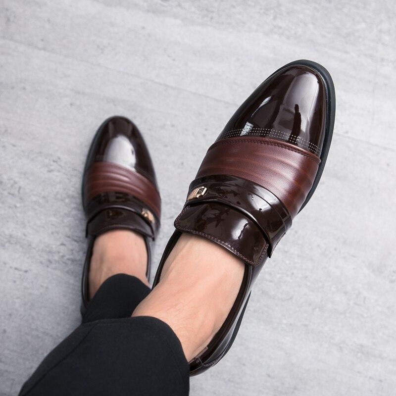 Zapatos Homens De brown Apontou Moda Em Hombre Negócios Toe Black Slip Vestem Sapatos Britânico Couro on Respirável Oxfords Se Formal 1rWrcaI