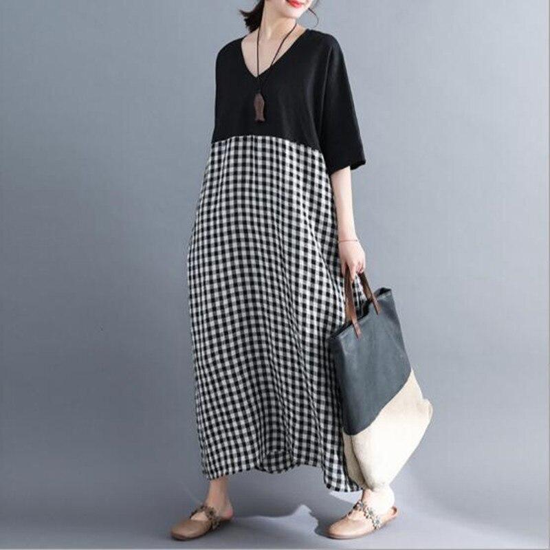 Hot Deal 2018 Neue Sommerkleid Lose Baumwolle Leinen Vintage Plaid