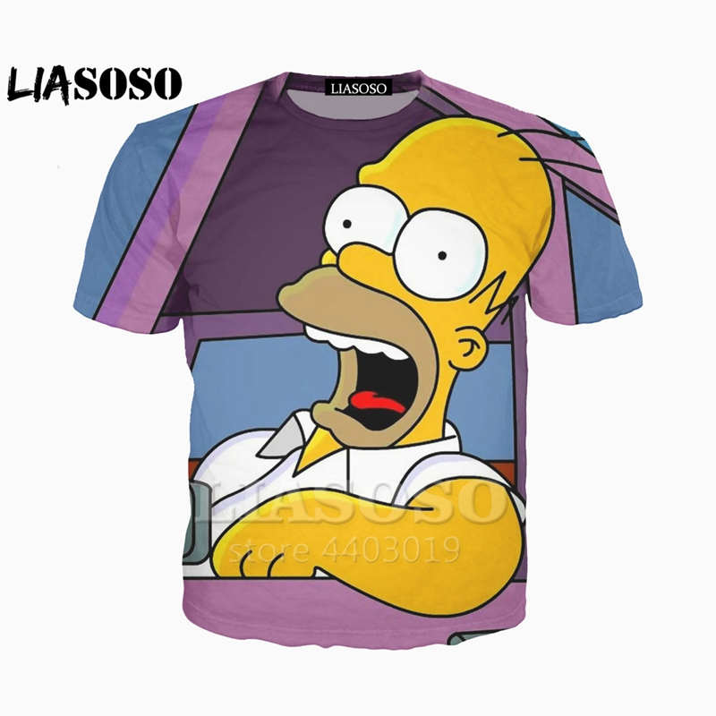 38c03636 Μπλούζες & μπλουζάκια LIASOSO Newest clothing The Simpsons printed 3d Man  Women t-shirt casual Harajuku Cartoon Funny tshirt Street Wearing TeeA047-73