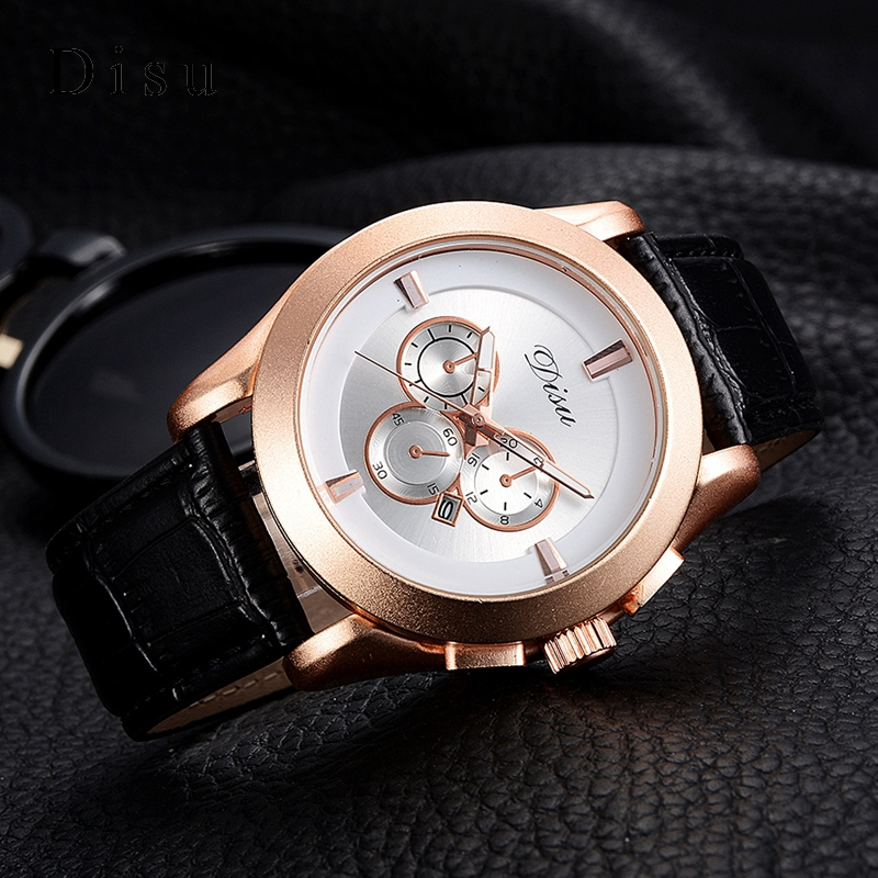 Disu Top Brand 2017 Men Watches Fashion Simple Quartz Wrist Watch Business Leather Strap Male Sport Rose Gold Dial Clock DS039 fashion top gift item wood watches men s analog simple bmaboo hand made wrist watch male sports quartz watch reloj de madera