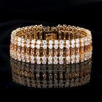 Luxury Bridal Zircon Double Side Bracelet Abbey Dawn Gatsby Wedding AAA Cubic Zirconia Bangle Fashion Jewelry