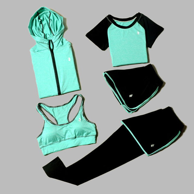 5 Piece Set Yoga For Women's Running Fitness T-Shirt Sports Bra Wear Fitness Clothing Women Training Set Sport Suit 1