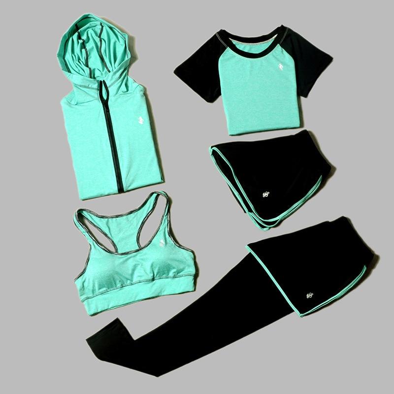 Women's Yoga Sets Five-Piece 5 Set Women's Clothing Sets Women's Gym Clothing Sportswear Sports Coaching Gym Training Clothes