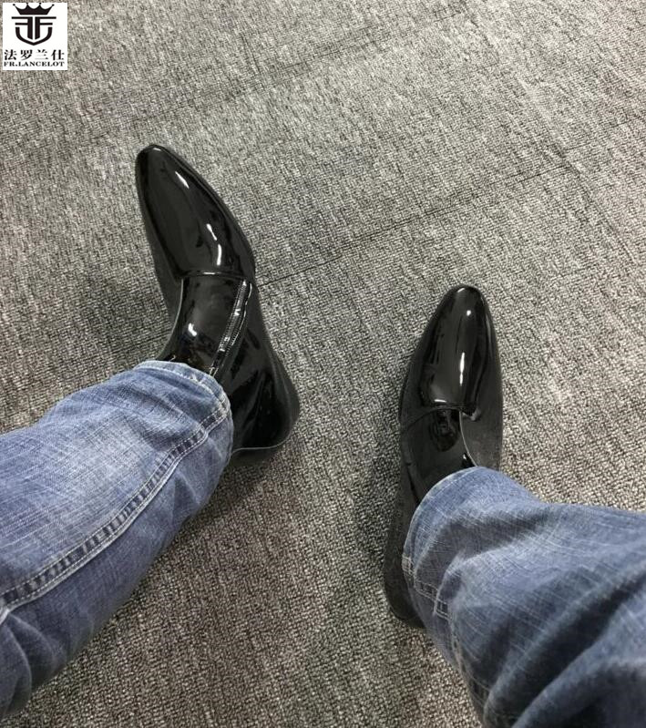 FR.LANCELOT new arrival men pointed toe ankle patent leather chelsea boots zip up mujer botas gentlem party shoes shinny leather fr lancelot 2018 new sequin leather men booties zip up chelsea boots black bling ankle boots men s glitter party shoes vintage