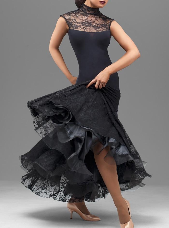 Ballroom Modern Waltz Tango Foxtrot Dress Lady's Elegant Black Sleeveless Stage Wear Women Ballroom Flamenco Dancing Dresses