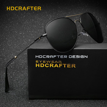 2017 HDCRAFTER Men's Aviator Polarized Sun Glasses HD Lens Fashion Cool Eyewear Retro Goggles Oculos De Sol With Case