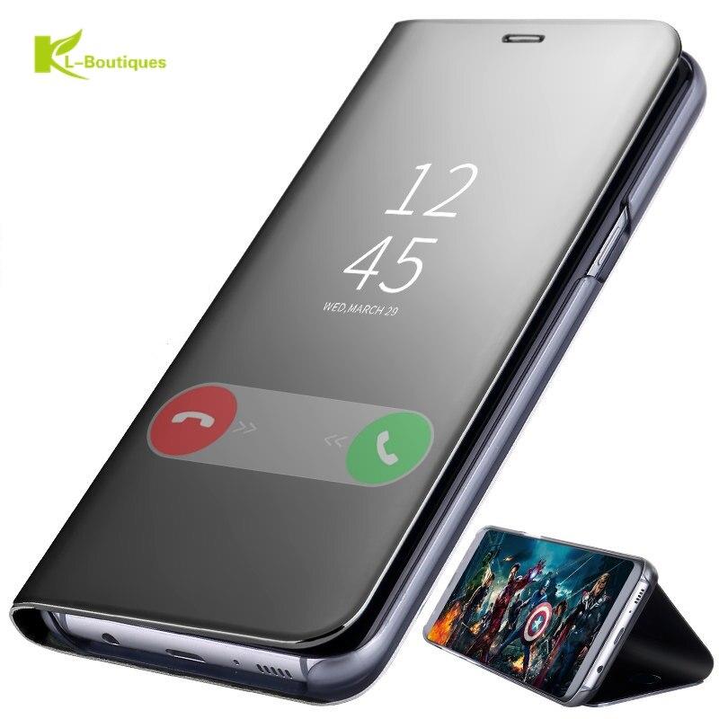 KL-Boutiques 3D teléfono caso de la sFor Fundas Samsung Galaxy J7 2017 J730 de lujo espejo vista clara de la cubierta inteligente para Galaxy J730F Coque