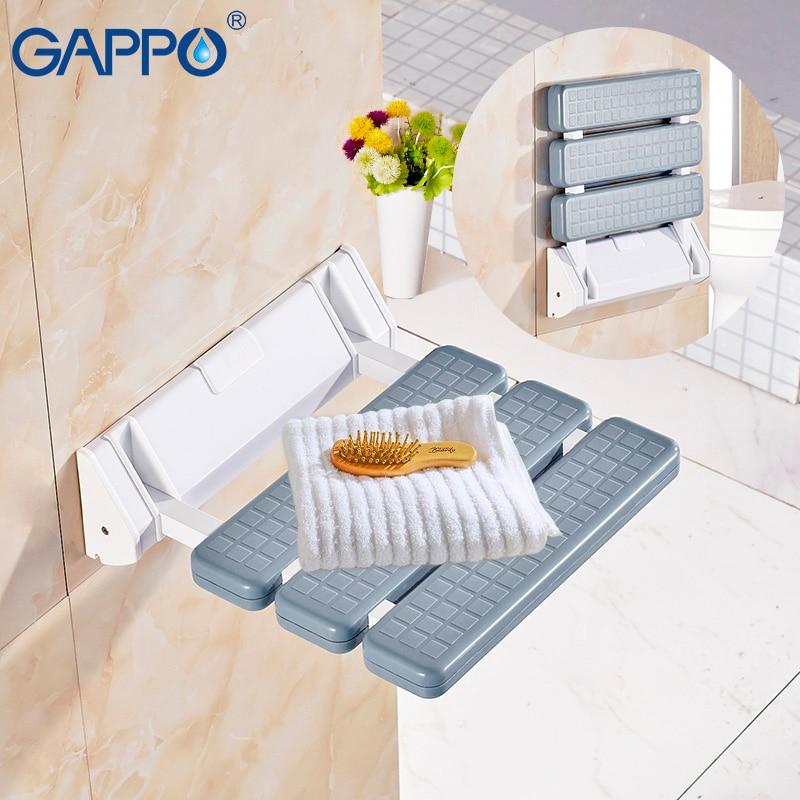 GAPPO Wall Mounted Shower Seats Bathroom Shower Chair Shower Folding Seat Bath Shower Bench Stool Toilet Bath Folding Chair