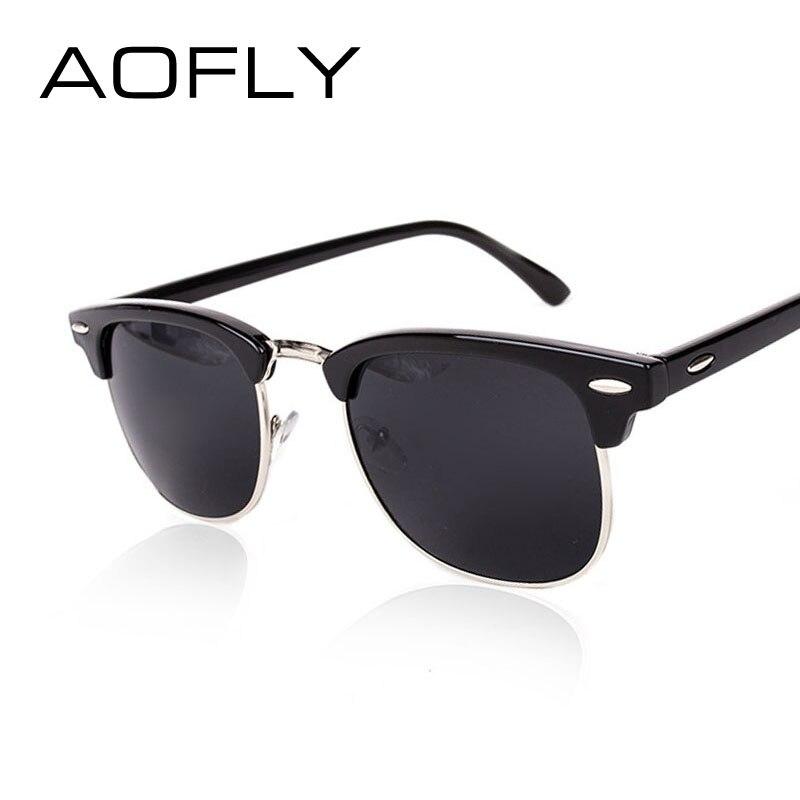 AOFLY CLASSIC Half Metal Sunglasses Men Women Brand Designer Glasses G15 Coating Mirror Sun Glasses Fashion