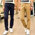 2016 primavera de algodão Dos Homens Em Linha Reta calças slim fit moda masculina Lápis doces casuais 9 cores full-length calças HY188