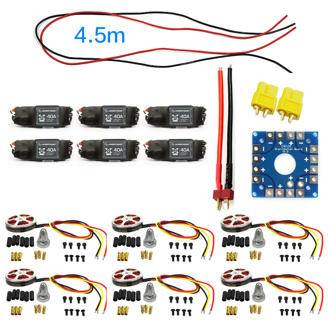 F04997-E JMT Assembled Kit : 40A ESC Controller 750KV Motor Connection Board Wire for 6-Aix Drone Multi Rotor Hexacopter zy 25 diy solderless assembled 25 hole mini bread board test board multi colored 1 set
