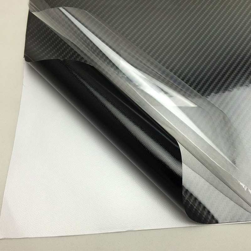 Vente chaude Haute Brillance 5D Autocollants en Fiber de Carbone Vinyle Film Comme de Vrais Noir Brillant 6d Fiber De Carbone Bulle D'air Libre 1.52x20 m/Roll - 2
