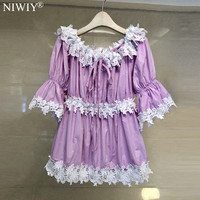 NIWIY Brand Summer One Shoulder Lace Flower Purple Shirt Womens Tops and Blouses Moda Mujer 2019 Retro Floral Sexy Top N9245