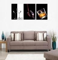 Pintura Da Lona de 3 Painéis Arte Da Parede Copo de Vinho Com Um Bom Vinho sem moldura de Imagem HD de Impressão para Bar Sala de Jantar Cozinha Sala de Parede decoração