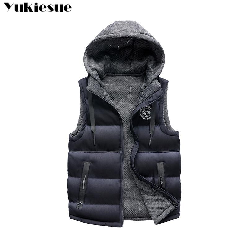 Winter men's Warm sleeveless Vest men coat cotton hooded jacket male zipper Waistcoat for Autumn male gilet homme Plus size