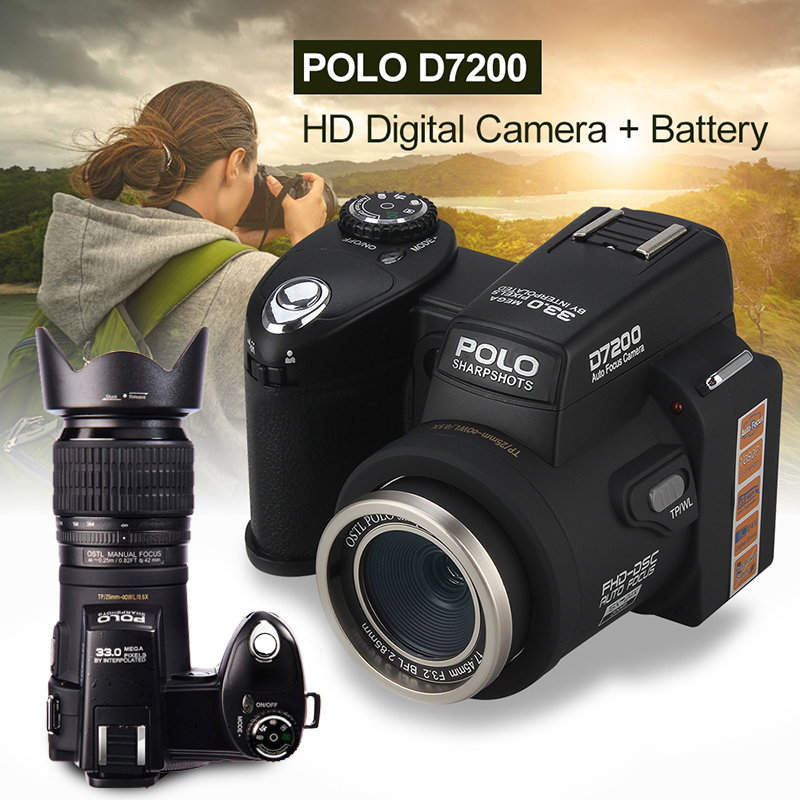 Protax/POLO D7200 Digital Camera 33MP 1080P Auto Focus SLR HD Video Camera 24X +Telephoto Lens Wide Angle Lens LED Fill Light zomei 62 mm 0 45x wide angle filter lens multi coated agc optical glass mc af wide converter for digital slr camera lens