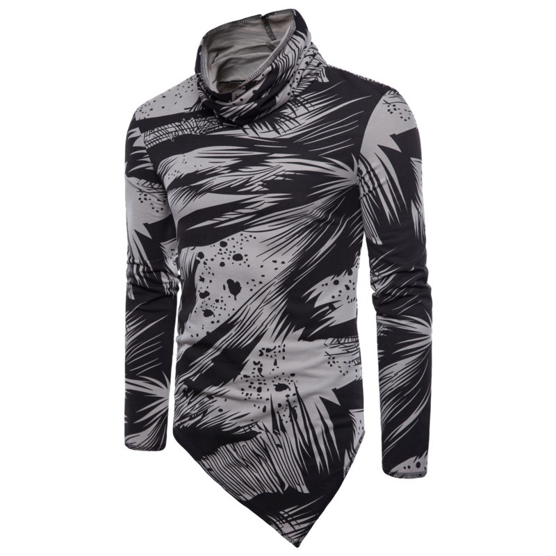 Gray Chemises Printemps Vêtements D'été Irrégulière Hommes white De T T Mode Haut Impression Col Et shirts OTqw6H