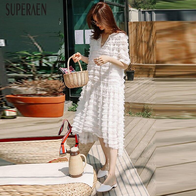 SuperAen mousseline de soie robe femmes 2019 nouveau col en v tempérament été à manches courtes dames robe blanc gland femmes vêtements