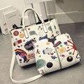 Новые модные женские сумки мультфильм печати составные мешки высокого класса тиснением ПУ сумки на ремне MS сумка ретро мешок