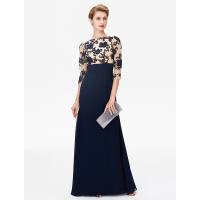 LAN TING BRIDE Sheath Column Bateau Neck Floor Length Chiffon Floral Lace Mother of the Bride Dress with Lace