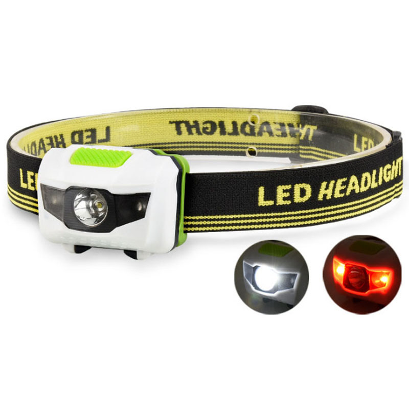 4 Mode Red+white   Headlamp Lightweight Waterproof LED Head Light Camping Head Lamp Travel Mini Hike Headlight AAA Battery
