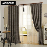 Solid Color Cotton Linen Curtains Cloth Custom for Living Room Bedroom Modern Style Half Shading Curtains 7 Color