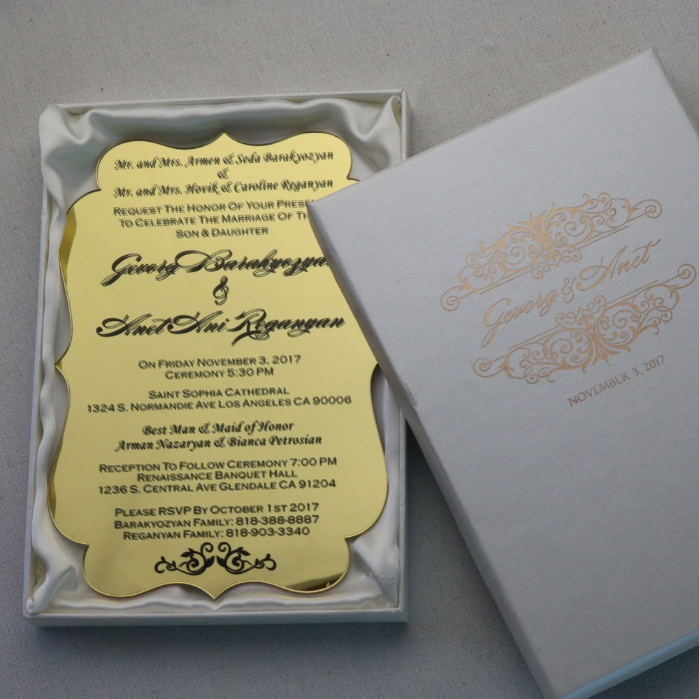 50 Personalized Gold Acrylic Wedding Invitation Cards For Free