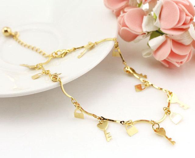 Lock Key Gold Anklet Beach Leg Bracelet Foot Jewelry Ankle Bracelets Women Enkelbandje Tornozeleira Pulseras Tobilleras Mujer