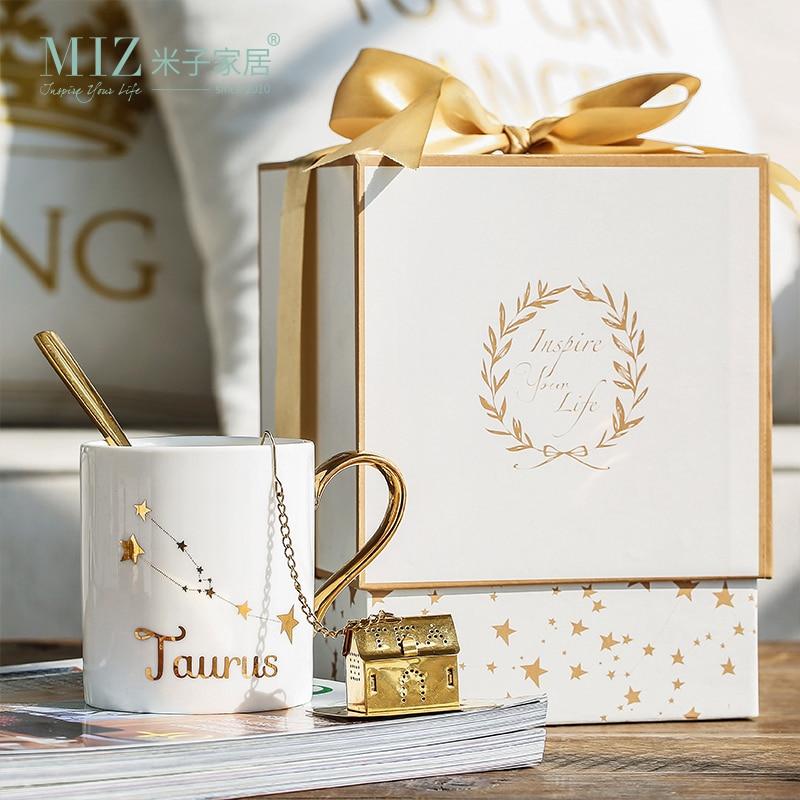 Taza de cerámica para el hogar Miz, kit de porcelana, constelación, tema Lucky Mug con caja de regalo Regalo de Navidad para amigos