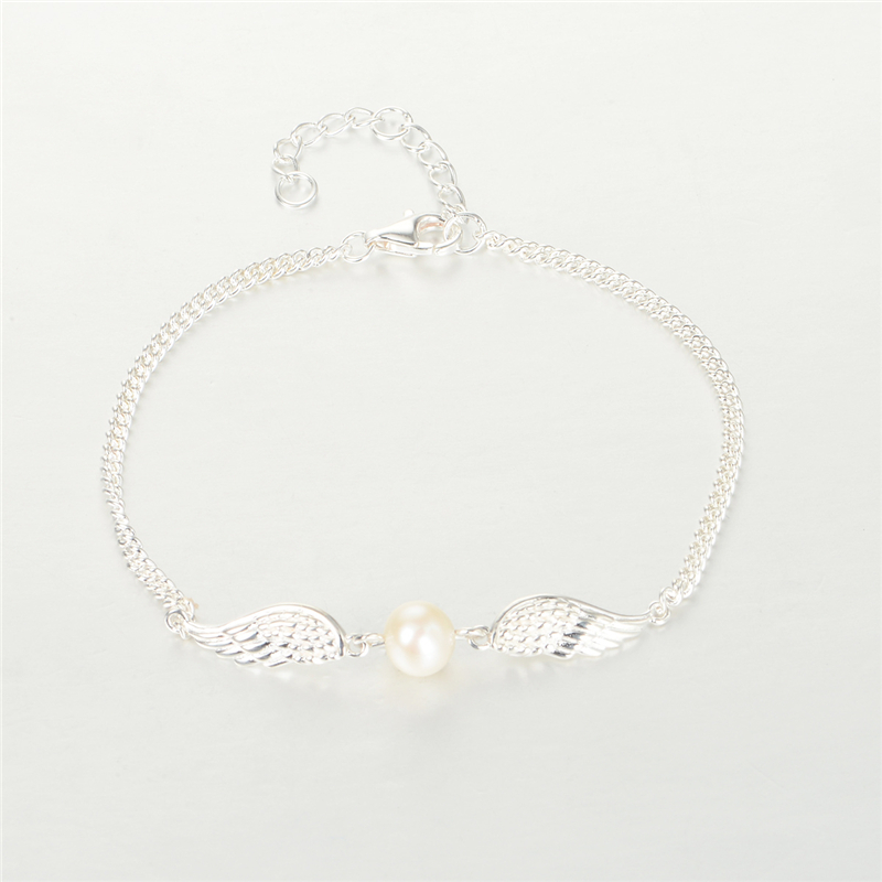 Pandulaso Pearl Jewelry Angel Wing Charms Silver Bracelets for Women Sterling Silver Jewelry Fashion Pearl Bracelets Accessories