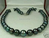 free P&P >>>>8-9mm Tahitian Black Natural Pearl Necklace 18