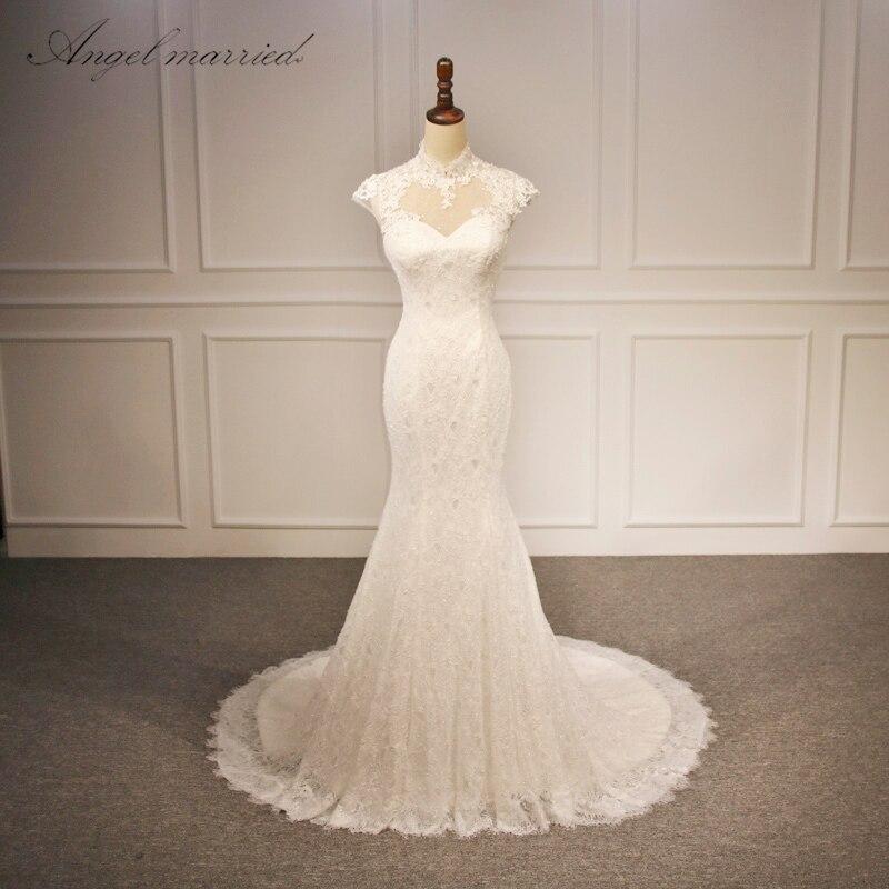 Us 135 99 20 Off Angel Married Vestido De Noiva 2018 Cap Sleeves High Neck Wedding Dresses Beach Weddings Caftan Lace Mermaid Bridal Gowns Sexy In