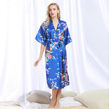 Chinese Style Women Robe Print Long Sleepwear Summer Nightgown Satin Lady Home Dress Royal Blue Home