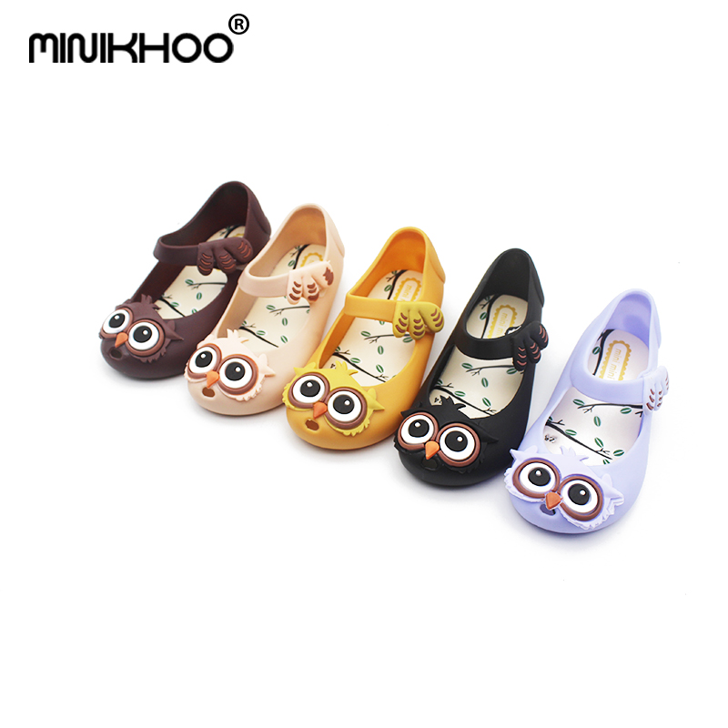 Mini Melissa 5 Color Owl Children Shoes Jelly Sandals Girls 2018 New Mini Melissa Princess Shoes Girls High Quality EUR24-29