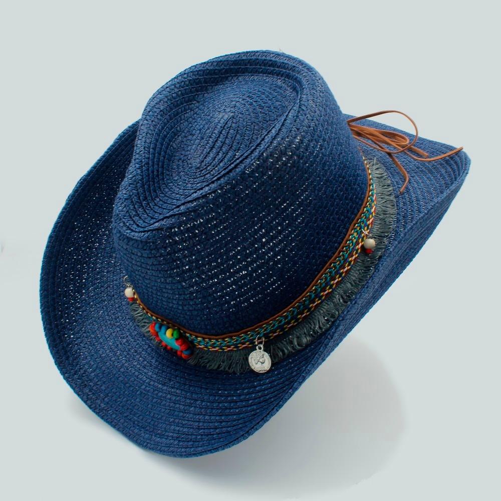 Summer Women s Men s Hollow Western Cowboy Hat For Gentleman Western Word  Cowgirl Jazz Cap Straw Beach Sun Hat With Handwork-in Cowboy Hats from  Apparel ... dfc144701fef
