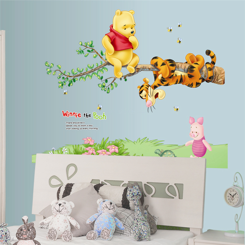 Winnie The Pooh On Tree Wall Stickers For Kids Bedroom Decoration Cartoon Animals Wall Mural Art Diy Home Decals Poster
