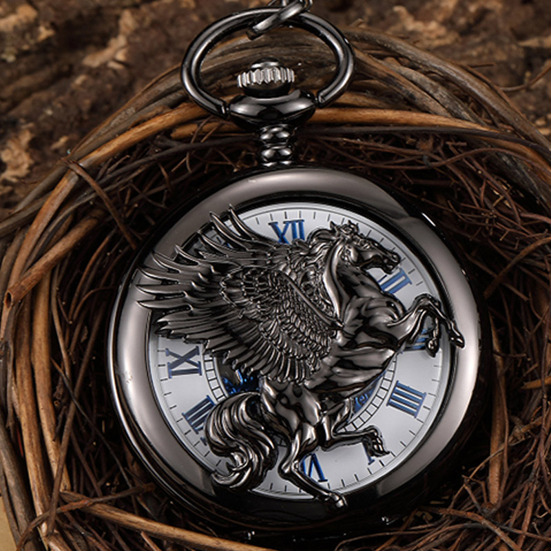 Retro Black Horse With Wing Hollow Hand Wind Vintage Mechanical Pocket Watch Men Steampunk Chain Watch Pendant Roman Numerals 110v 220v electric belgian liege waffle baker maker machine iron page 7