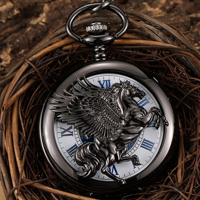 Retro Black Horse With Wing Hollow Hand Wind Vintage Mechanical Pocket Watch Men