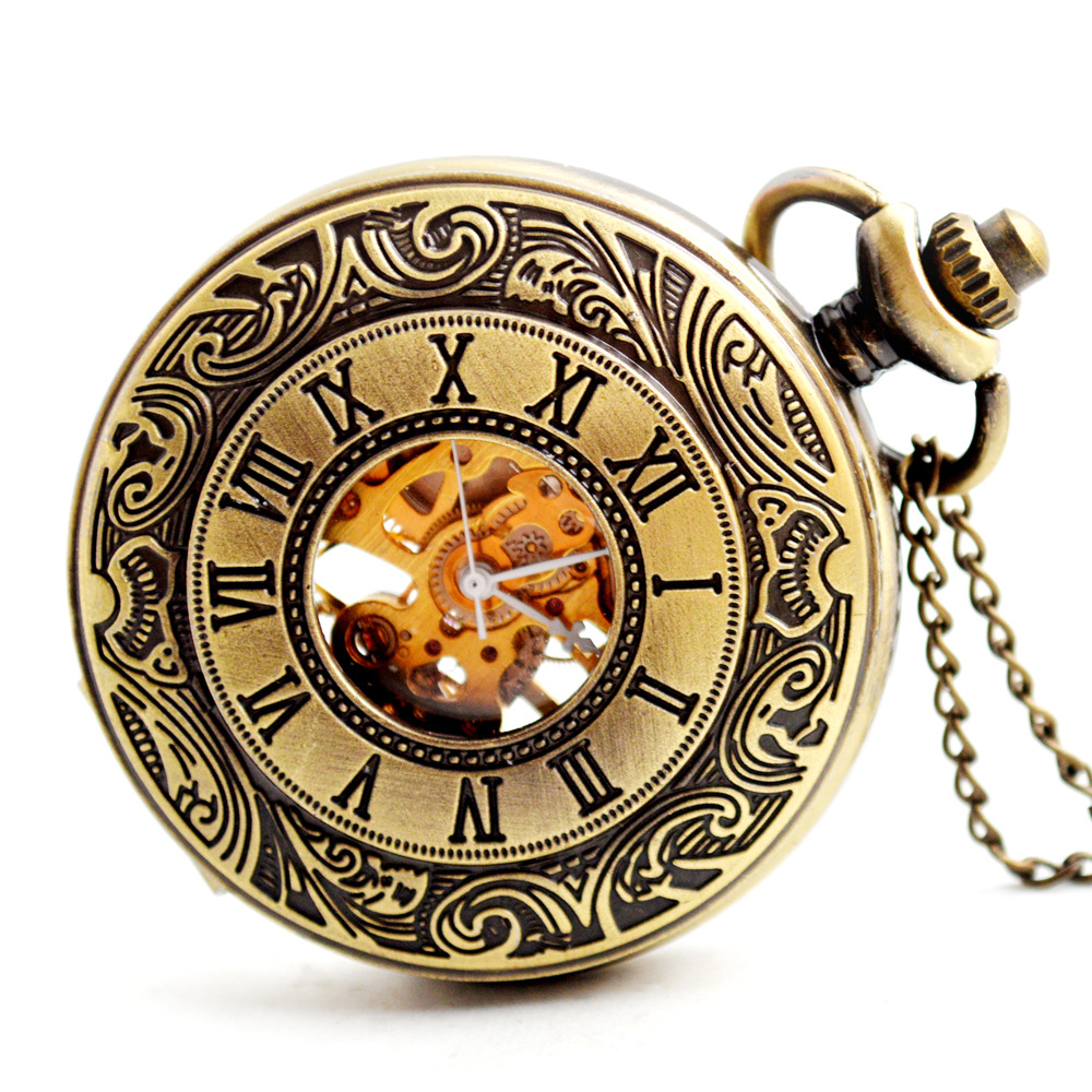 Bronze Mechanical Pocket Watch Vintage Roman Numerals Clock Men Women's Necklace Chain Pendant Fob Watch Relogio De Bolso vintage bronze fishing steampunk quartz pocket watch antique necklace pendant with chain clock men women gifts relogio de bolso