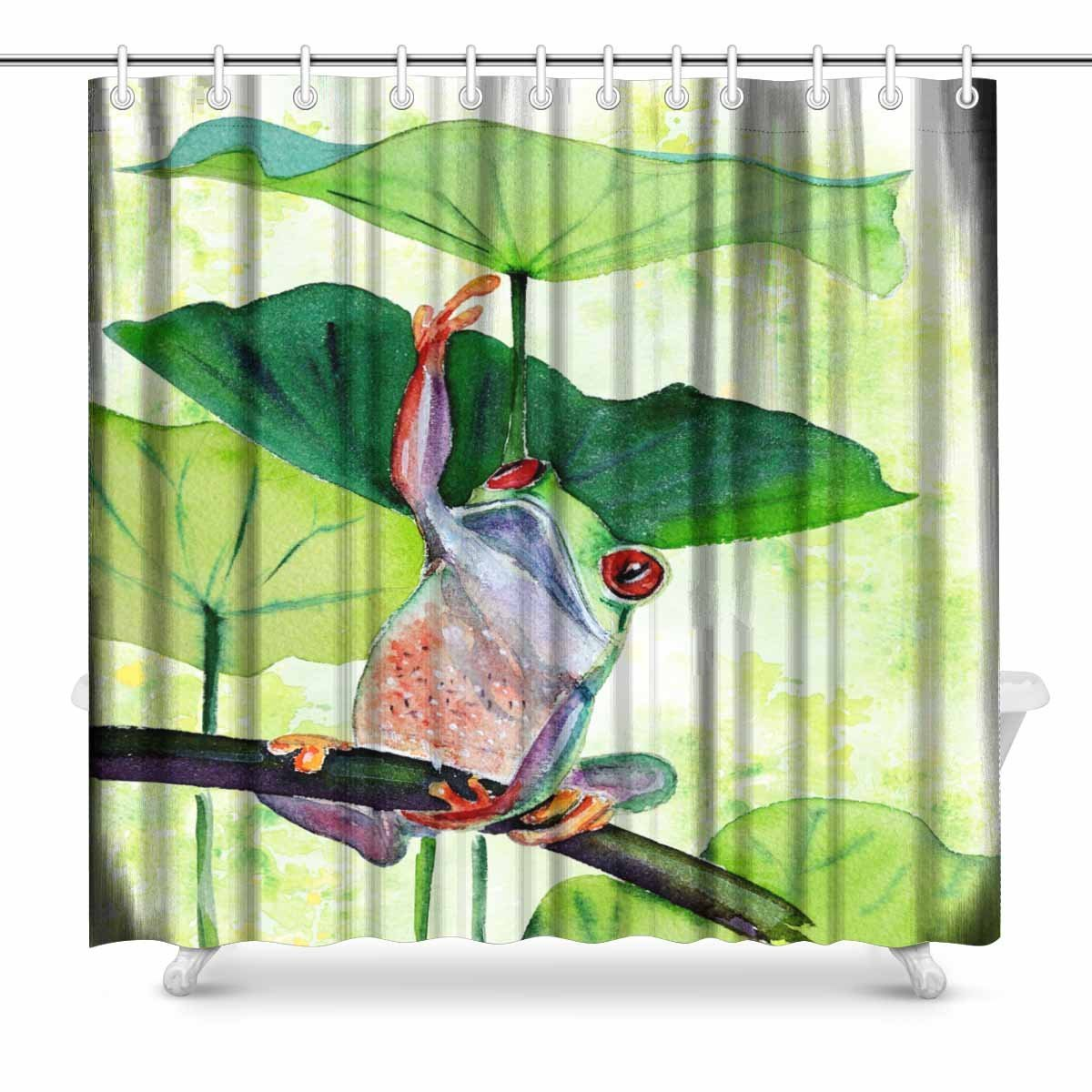 Us 26 59 Aplysia Frog And Lily Leaves Bathroom Accessories Shower Curtain With Hooks 72 Inches In Shower Curtains From Home Garden On Aliexpress