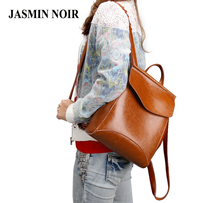 Women Genuine Leather Backpack Oil Cow Shoulder Bag School Bag For Teenagers Girl's Fashion High Quality Casual Travel Bagpack