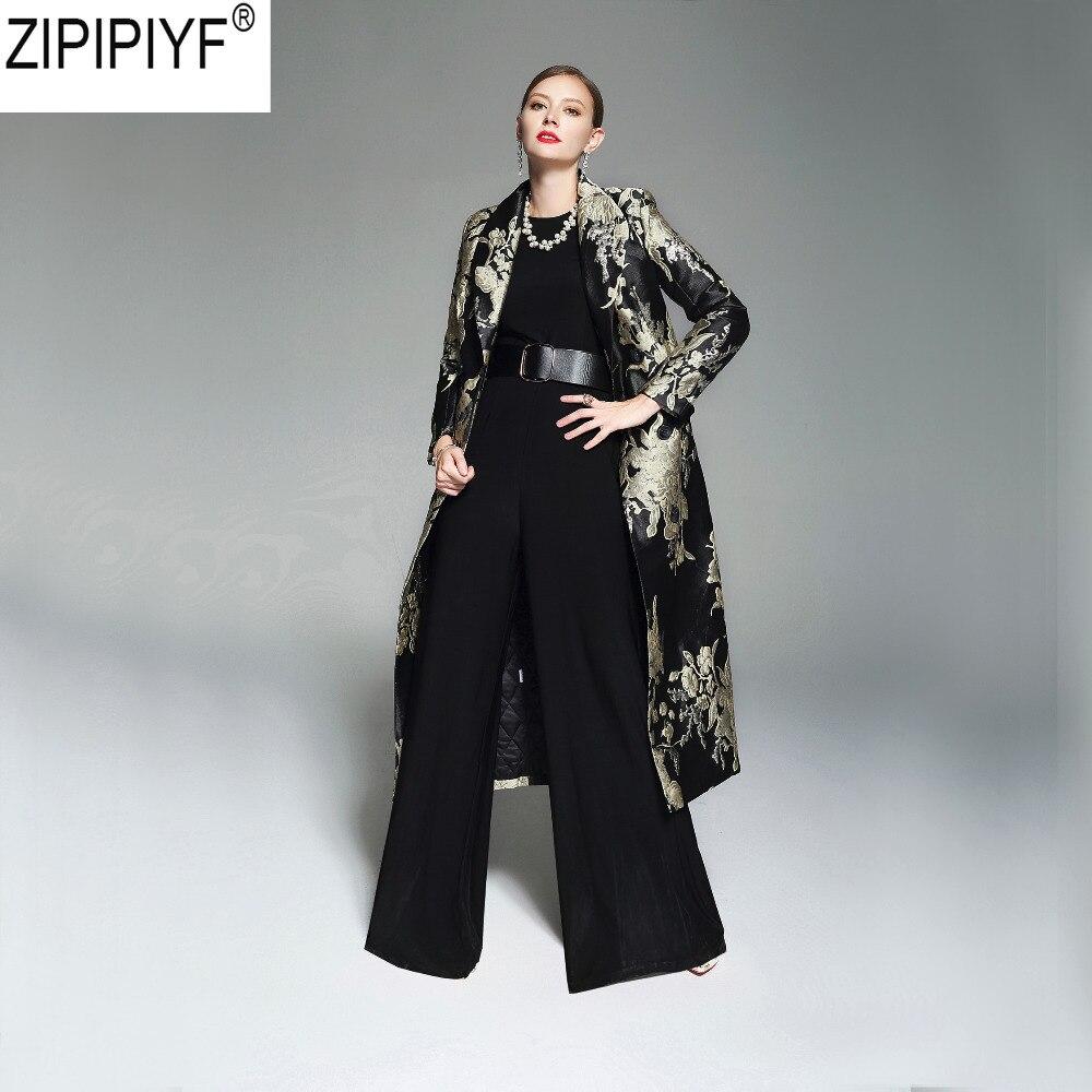 2018 New Fashion Autumn Vintage Women s Small Fragrance Embroidery Luxury Windbreaker Long Parkas Coat Slim