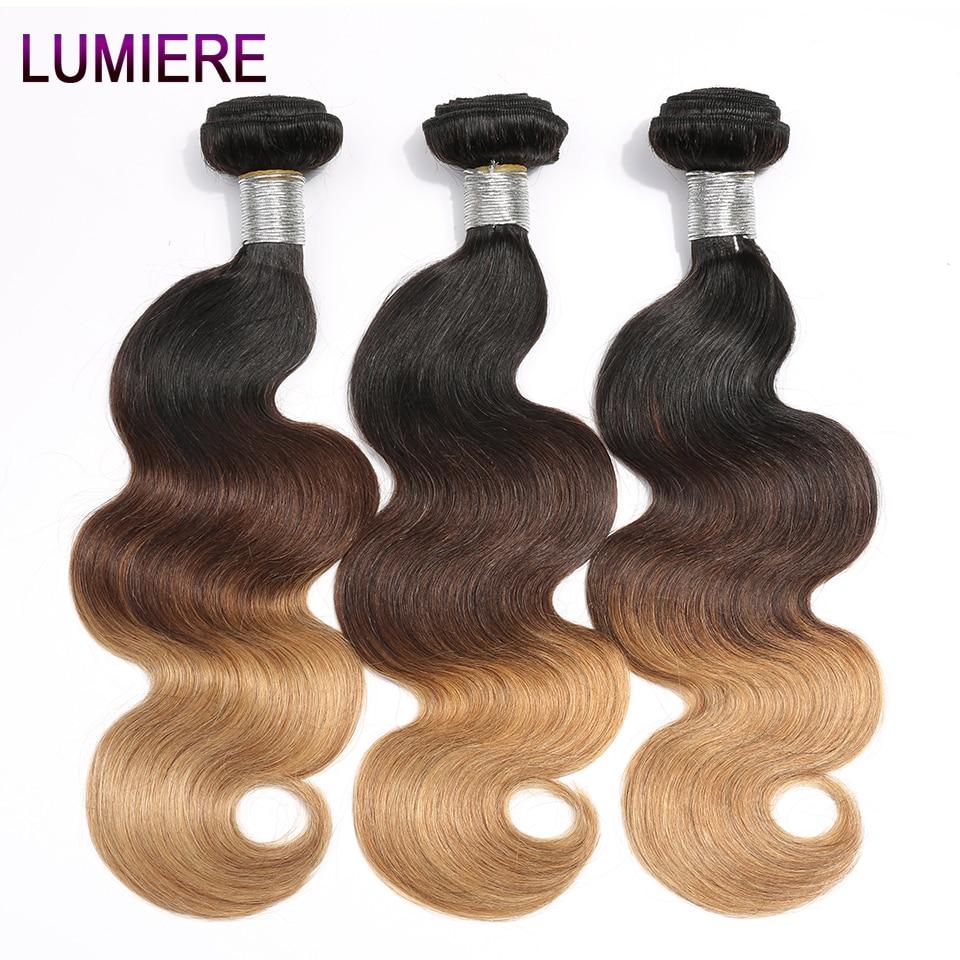 Lumiere Hair Brazilian Body Wave 3 Tone 1B/4/27 Ombre Brazilian Hair Weave Bundles Non Remy Hair Extension Can buy 3/4 Bundles