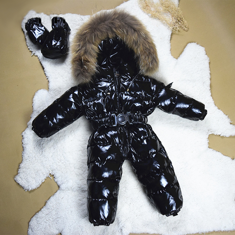 Snowsuit bébé hiver manteau blanc canard duvet 3-36 mois imperméable brillant naturel fourrure doudoune vêtements bébé fille
