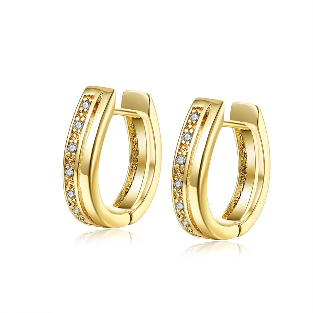 Купить изысканные серьги кольца женские huggie с позолотой желтого